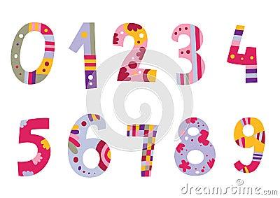 Ensemble de nombres colorés