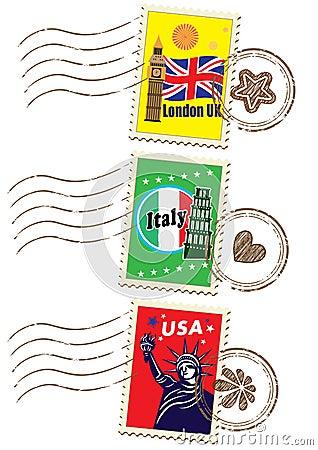 Ensemble de timbre de voyage du monde