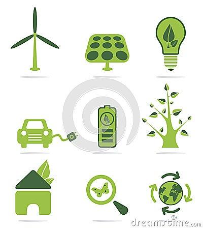 Ensemble vert d icône d énergie