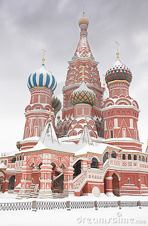 Enter to St. Basil Temple in Moscow, at wintertime