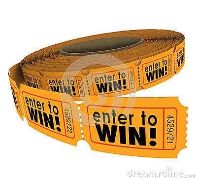Free Enter To Win Raffle Ticket Roll Fundraiser Charity Lottery Luck Stock Images - 43257384