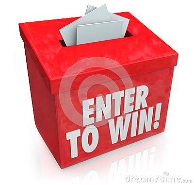 Free Enter To Win Red Raffle Lottery Box Entry Forms Tickets Stock Images - 31631474