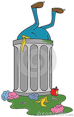 Entering trash bin