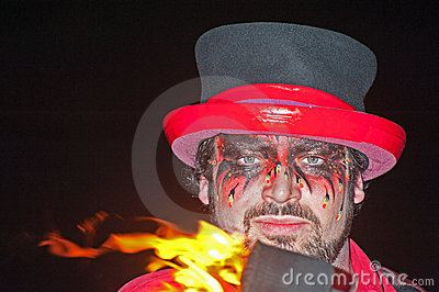 Entertainer at Hogmanay Celebrations. . Editorial Stock Photo