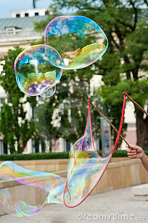 Entertainer making bubbles