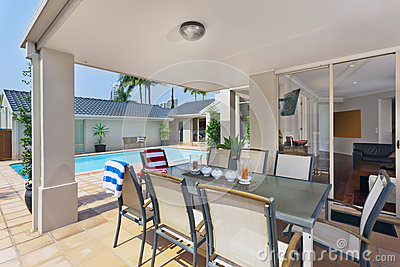 Entertainment area outside of modern australian home
