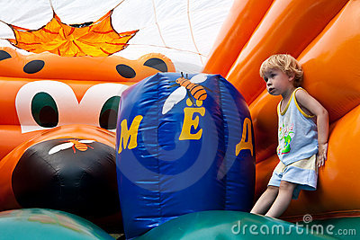 Entertainment for children on bouncy castle