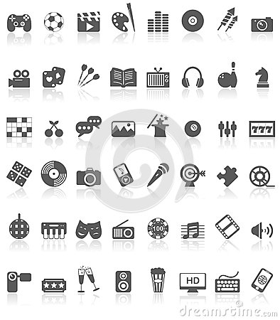 Free Entertainment Icons Collection Black On White Royalty Free Stock Photography - 36093027
