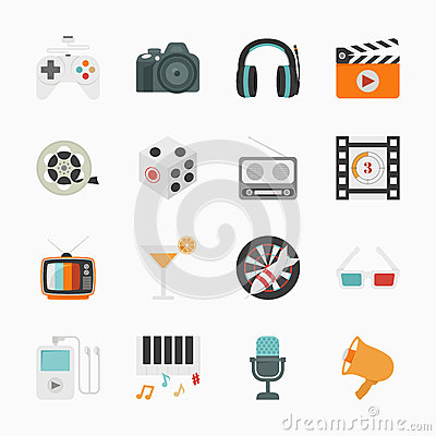 Entertainment Icons with White Background Vector Illustration