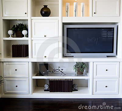 Entertainment shelving area in living room
