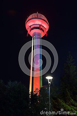 Entertainment tower in Ankara Turkey at night