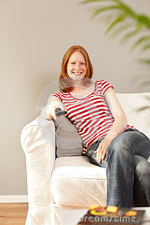 Entertainment - a woman watching TV