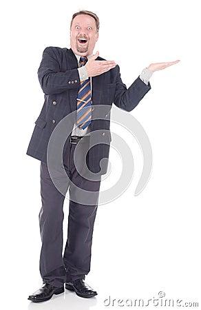 Enthusiast businessman showing