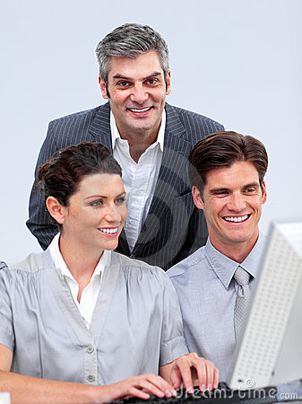 Free Enthusiastic Business Team Working At A Computer Stock Images - 12976084
