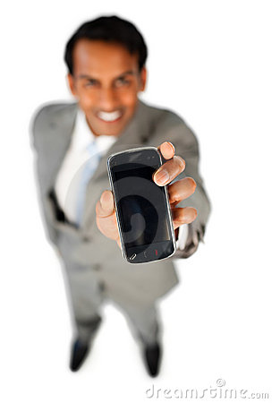 Free Enthusiastic Businessman Showing A Mobile Phone Stock Photography - 12229912