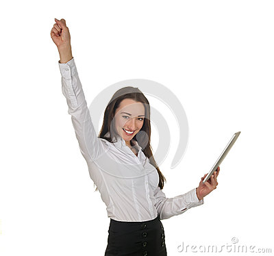 Businesswoman with tablet pc cheering