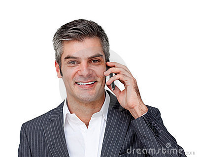 Enthusiastic male executive on phone