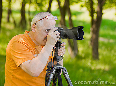 Enthusiastic mature photographer