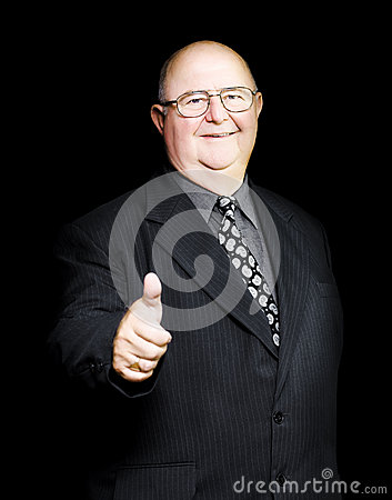 Enthusiastic positive senior business man