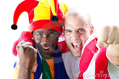Enthusiastic sports fans