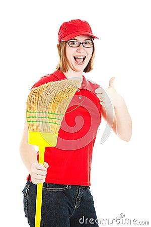 Enthusiastic Teenage Worker