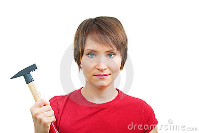 Enthusiastic woman with hammer