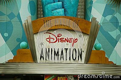 Entrada de la animación de Disney Fotografía editorial