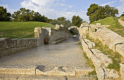 Entrance at ancient Olympia stadium in Greece