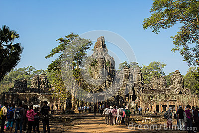Entrance of Angkor Thom Editorial Stock Photo