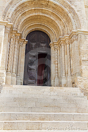 Entrance of cathedral  Se Velha de Coimbra