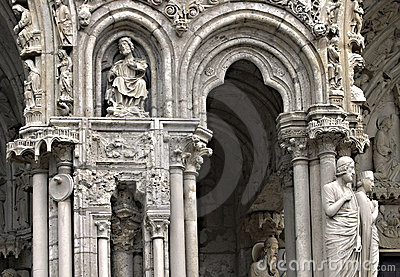 The entrance of Chartres cathedral
