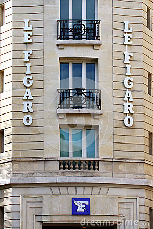 The Entrance of editorial office of Le Figaro daily newspaper in Paris Editorial Stock Image