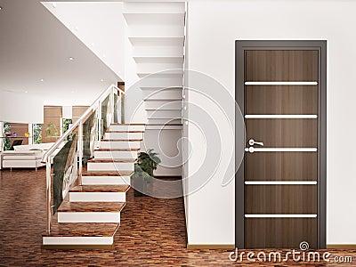 Entrance hall interior 3d render