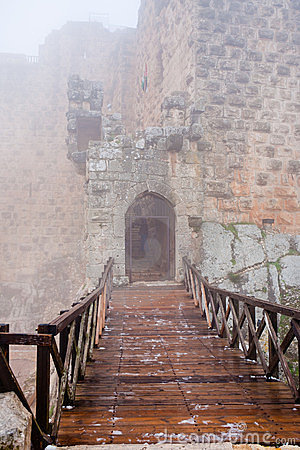 Free Entrance In Medieval Ajlun Castle In Foggy Day Stock Photos - 23745453