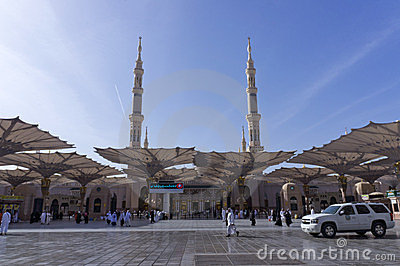 Entrance of Masjid (mosque) Al Nabawi in Medina Editorial Photo