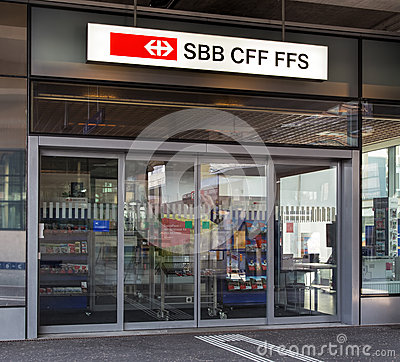Free Entrance Of The Swiss Federal Railways Office In Wallisellen Stock Photography - 57766862
