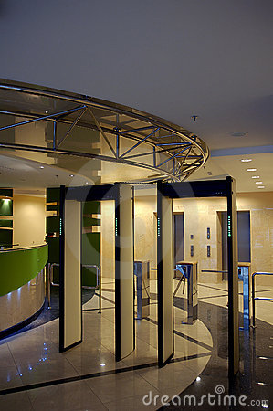 Entrance with security gate in business building