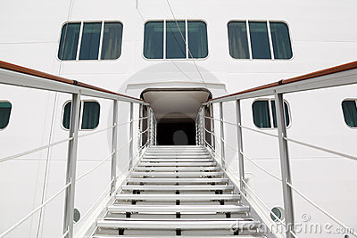 Entrance with stairs in cruise passenger liner