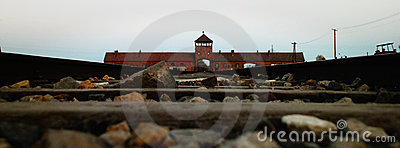 Entrance to Birkenau Editorial Photography