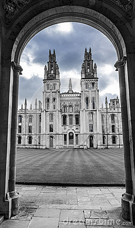 Entrance to a college in Oxford, England, bw Editorial Image