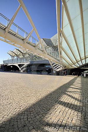 Entrance to Gare do Oriente, Lisbon Editorial Stock Image