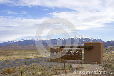 Entrance to Great Sand Dunes National Park and Preserve Editorial Photography