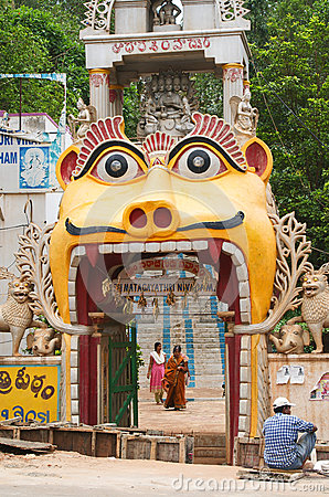 Entrance to hindu temple in Andhra, India