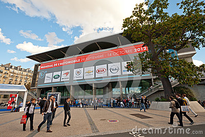 Entrance to the Paris Motor Show 2012 Editorial Stock Photo