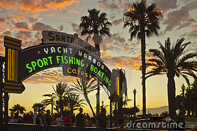 Entrance To Santa Monica Pier At Sunset Editorial Photography