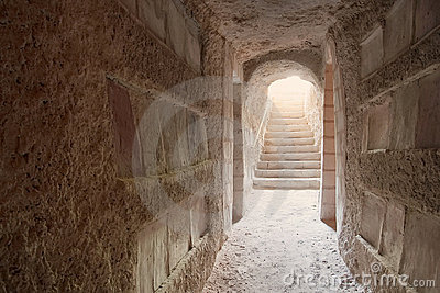 Entrance to Sousse catacombs flooded with light