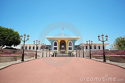 Entrance to the Sultan s Palace in Oman in center