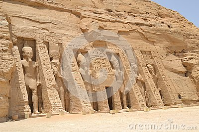 Entrance to the temple of Nefertari at Abu Simbel