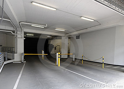 Entrance to underground parking garage.