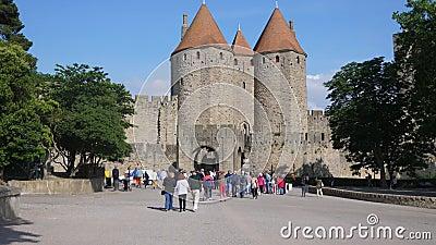 Entrata di Carcassonne video d archivio